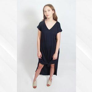 Entro Navy V-Neck Maxi Dress with Pockets